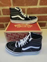 Vans Off the Wall Black White High Top Size 2 Y wmns 3.5 Sk8 Hi Skateboard $19.95