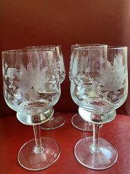 """4 Vintage Crystal Wine Glasses Goblets 65"""" Tall Flower Design Made In Romania $26.00"""