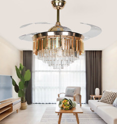42quot; Invisible Ceiling Fans Luxury Crystal Gold Chandelier with LED Light Remote $189.98