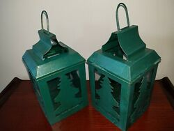 Two 9 1 2 inch tall forest green metal candle lanterns rustic design. $5.97