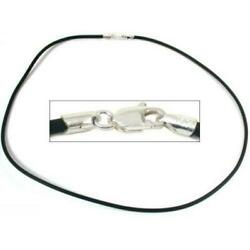 Rubber Cord Necklace Silver Clasp Black Jewelry 16quot; $9.53