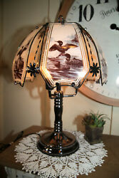 VTG 3 Way Touch Lamp Large 21quot; Wildlife Loons Water Birds 1980#x27;s KR6 6 $97.99