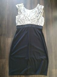 Max Studio Tiered Dress Size Large Knit Mesh Black Gray Cocktail Women#x27;s $18.00