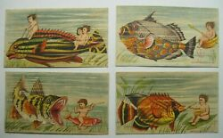 4 Victorian Trade Cards Colorful Nude Children Underwater with Fish Nice B3 $37.50