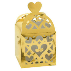 GOLD CUTOUT LANTERN FAVOR BOXES 50 Wedding Baby Shower Party Supplies Loot $16.99