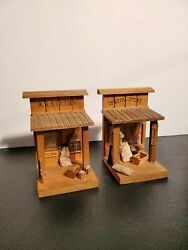 Vintage HandCrafted GENERAL STORE amp; R.R. Station Doll House Train Set Mini Props $25.00