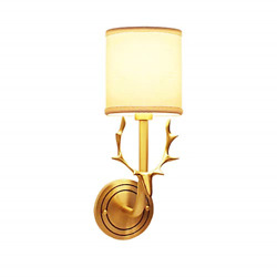 NOXARTE Mid Modern Wall Lamp Brushed Brass Wall Sconce with White Fabric Shade $21.67