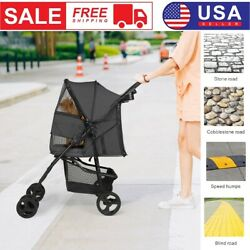 Durable Foldable Dog Stroller Pet Travel Carriage for Pets with Carrier Cart $84.49