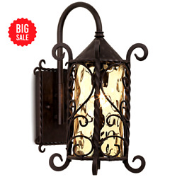 Rustic Outdoor Wall Light Iron Twists 18 1 2quot; Water Glass for Exterior House $121.00