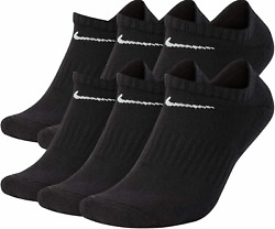 Nike Men#x27;s Everyday Cushioned No Show Socks 3 OR 6 Pairs BLACK SX7675 001 $23.96