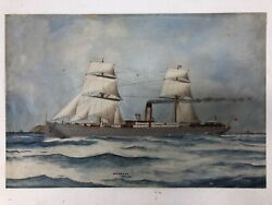c1904 Antique Oil Painting of Steam Ship Seascape Signed e $400.00