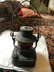 Rare Vintage DIETZ 8 Day Oil Lantern State of PA Square Base Red Globe $199.95