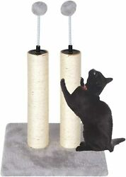 Cat Scratching Posts Double Scracher Sisal Poles with Spring Teasing Plush Balls $16.99