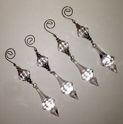 Vintage Christmas Tree Ornament CRYSTAL DROPS 4 Lucite Prisms Faceted 6.5 Inches $11.99