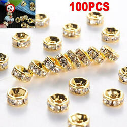 100pcs Silver Gold Crystal Metal Spacer Beads DIY 6mm 8mm for Jewelry Making C $1.99