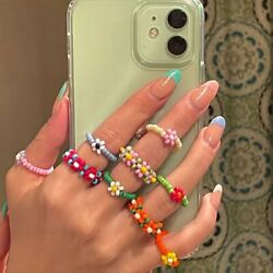 Boho Small Flower Summer Colorful Beads Ring Adjustable Women Party Jewelry Gift C $0.99