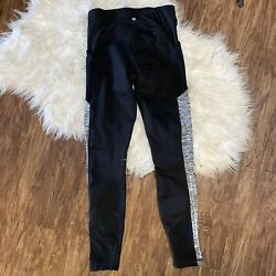 Champion High Waisted Black Leggings Pockets Size Small Gray Colorblock Athletic $13.00