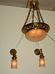 Antique Chandelier and Two Sconce Matched Set 1920 Cut Glass Frosted Shades. $550.00