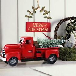 Vintage Metal Classic Rustic Pickup Truck Christmas Tree Home Office Decor Red $16.99