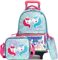 Kids Rolling Backpack for Girls Backpack with Wheels Backpack for Girls for Scho $70.77