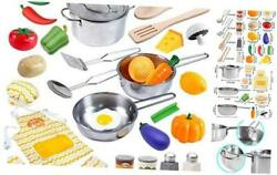 29 Pcs Play Kitchen Accessories Kids Pots and Pans Playset Toy Kitchen Sets $26.57