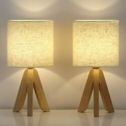 Set of 2 Small Table Lamps Wooden Tripod Nightstand Lamps amp; Fabric Linen Shade $35.99