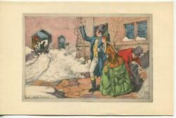 VINTAGE CHRISTMAS VICTORIAN COUPLE LUGGAGE HORSES SNOW WILLIAM MARK YOUNG CARD $2220.00