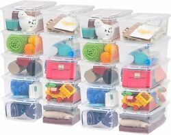 20 Pack Shoe Storage Boxes Plastic Bin with Lid Stackable Design Container Clear $49.00