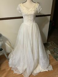 vintage wedding party white embroidered Long dress tulle sheer $65.00