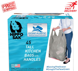 Hippo Sak Tall Kitchen Bags Made with Recycled Ocean Plastic 45 Count $17.99