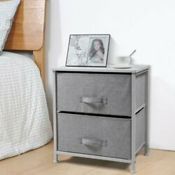 Bedside End Table Organizer Bedroom Nightstand with 2 Fabric Drawers Steel Frame $38.99