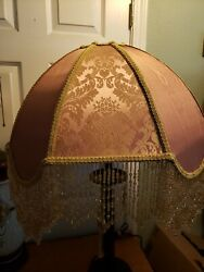 Victorian French Ex Large Floor Table Lamp Shade quot;Golden Rosequot; Bead Fringe $229.00