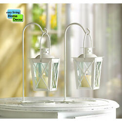 Set of 2 Rustic Vintage Style WHITE RAILROAD CANDLE LANTERNS $25.95