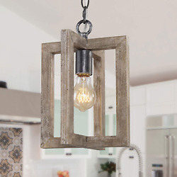 GEPOW Farmhouse Pendant Lighting Wood Hanging Fixture for Kitchen Island Room $73.35