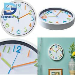 Bernhard Products Colorful Kids Wall Clock 10 Inch Silent Non Ticking Quality Qu $25.99