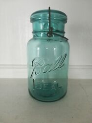Vintage Ball Ideal Mason Jar Canning Blue Glass With Lid Pat D July 14 $20.00