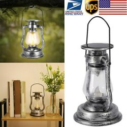 Antique Oil Lantern LED Solar Powered Candle Light Garden Outdoor Camping Lamp $14.29