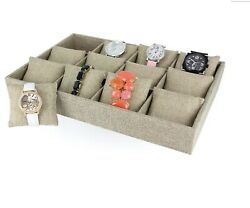 Burlap Linen Watch Jewelry Display Case Tray Holds 12 Watches $10.00