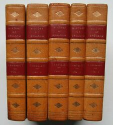 1823 BRITISH HISTORY of ENGLAND by Tobias Smollett in 5 vols LEATHER BINDINGS UK GBP 150.00