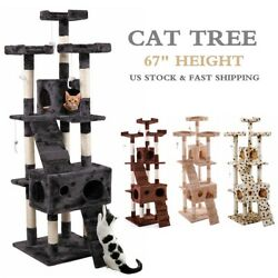 67quot; Cat Tree Condo Tower w Scratching Post Kitty Pet Play Climbing Furniture $75.99