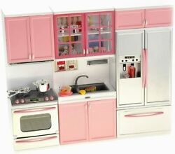 My Modern Kitchen Full Deluxe Kit Playset Refrigerator Oven Sink Cabinets Pink $31.99