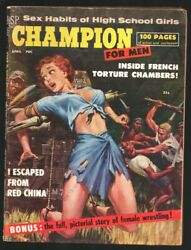 Champion For Men #1 4 1959 1st issue spicy bound over cannon exploitation fem... $100.75