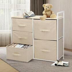 Bedside End Table Organizer Bedroom Nightstand with 5 Fabric Drawers Steel Frame $68.99