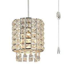 Airposta Plug in Crystal Pendant Light Modern Mini Chandelier with Clear 16.4#x27; $49.59