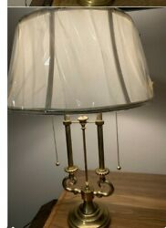 VINTAGE BRASS STIFFEL LAMP FRENCH BOUILLOTTE DOUBLE CANDLESTICK ORIGINAL SHADE $299.99