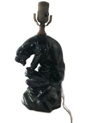 Black Panther Perched on Boulder Mid Century Modern Ceramic Table Lamp MCM $149.99