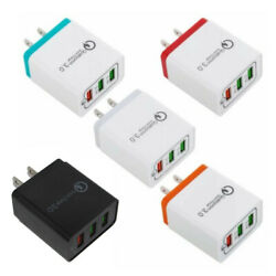3 Port USB Home Wall Fast Charger Adapter for Samsung iPhone Android Cell Phone $6.99