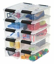 Stackable Pull Storage Plastic Bin Container w Lid Set 5 Quart 10 Box Clothing $46.99