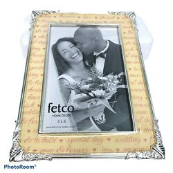 fetco Home Decor 4quot;x6quot; Silver Toned Wedding Love Ornate Picture Frame $19.43