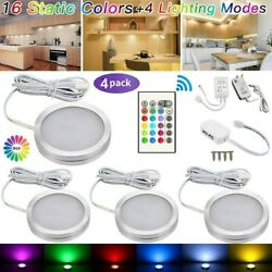 4PCS RGB LED Kitchen Under Cabinet Cupboard Lighting Kit Puck Light With Remote